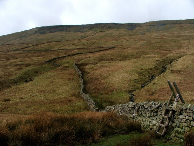 Drystone Wall and Stile beneath Combe Scar.
