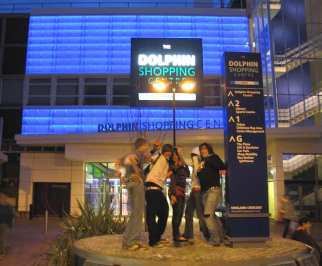 Early evening revellers at the Dolphin Centre, Poole