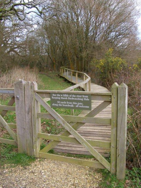 Boardwalk to Keeping Marsh birdwatching hide, Beaulieu River