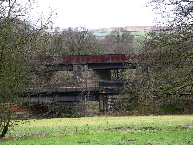 ELR bridge and dismantled railway bridge crossing River Irwell