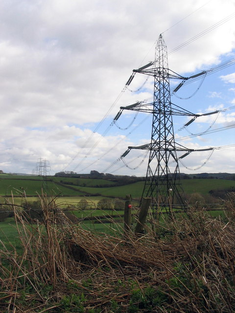 Power pylons near Wooth