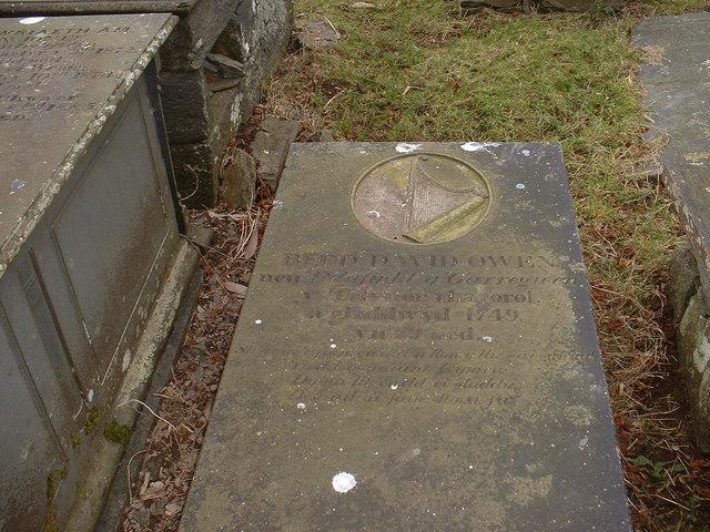The gravestone of Dafydd y Garreg wen