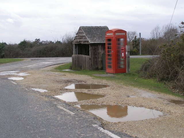 Telephone call box and bus stop shelter, Hatchet Pond, New Forest