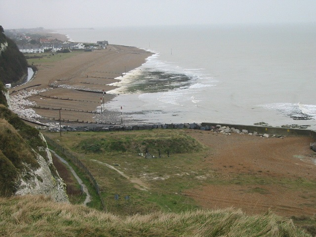 Oldstairs Bay and former firing range from cliff top