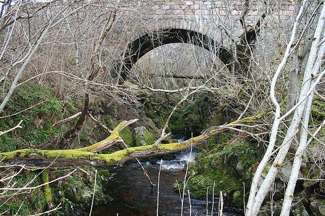 Downstream under the bridge over the burn near Garlinebeg.