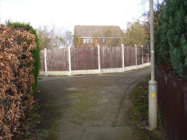 A suburban path junction, Bradley, Huddersfield