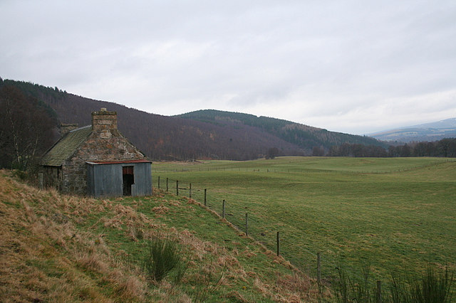 Abandoned cottage by Polcreach, Speyside.