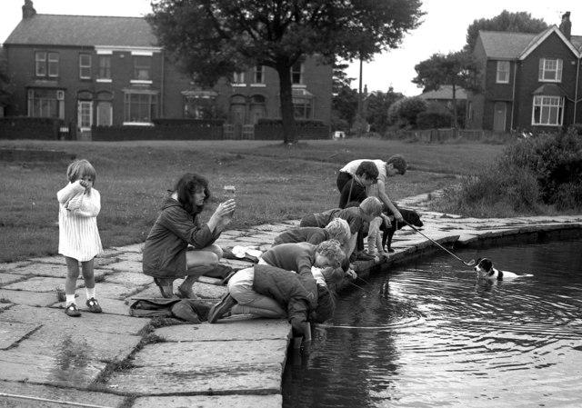 Fishing, etc., in Syke Pond, Rochdale, Lancashire