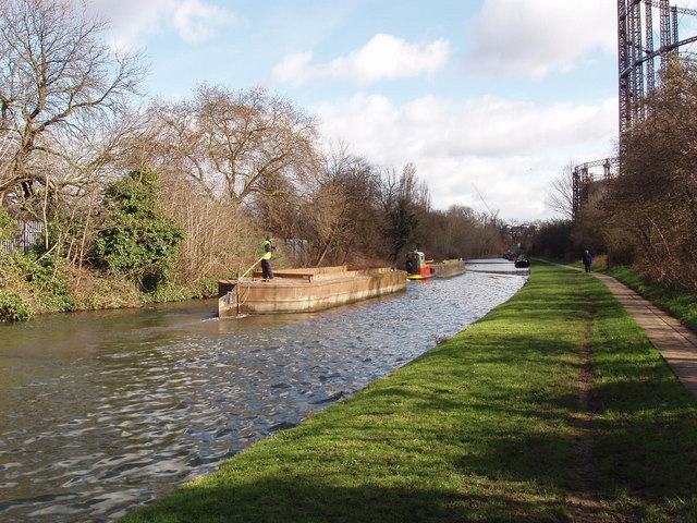 Freight barge moving on Grand Union Canal