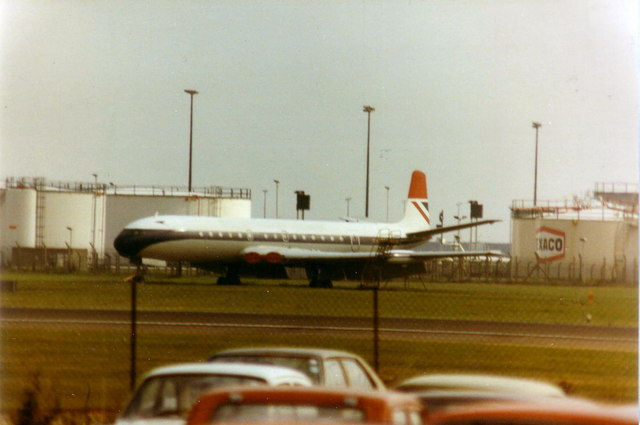 Fire-training aircraft at Heathrow, 1980