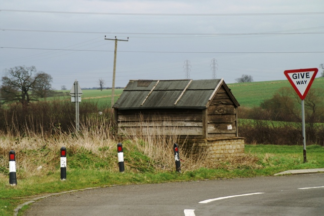 Old bus shelter on A43