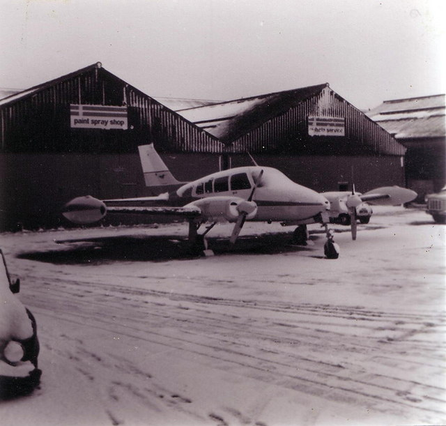 Snowbound aircraft at Sywell, 1975