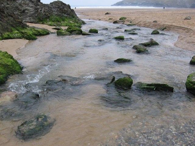 Stream on Porth Joke Beach