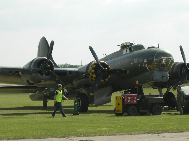 B17 shortly after fly by and landing