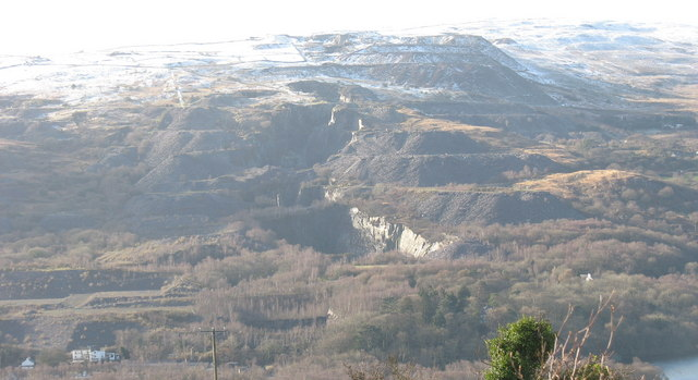 A line of contiguous quarries on the east facing slope of Cefn Du