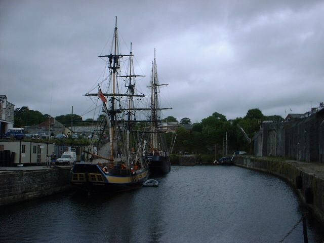 Tall Ships and Charlestown Harbour in the Rain