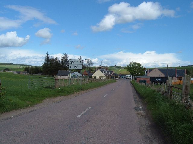Approaching the A947 at Towie