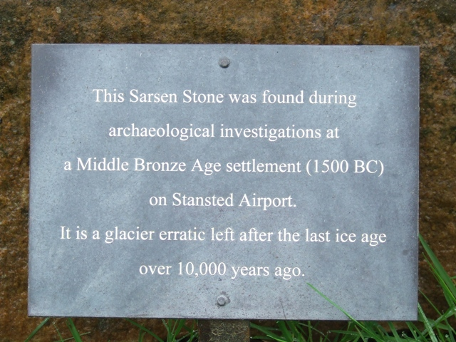 Plaque on erratic at Takeley