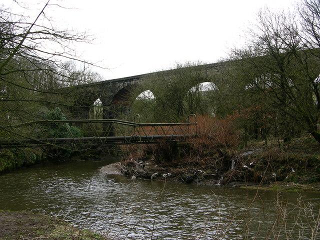 Dismantled railway - viaduct at Lumb