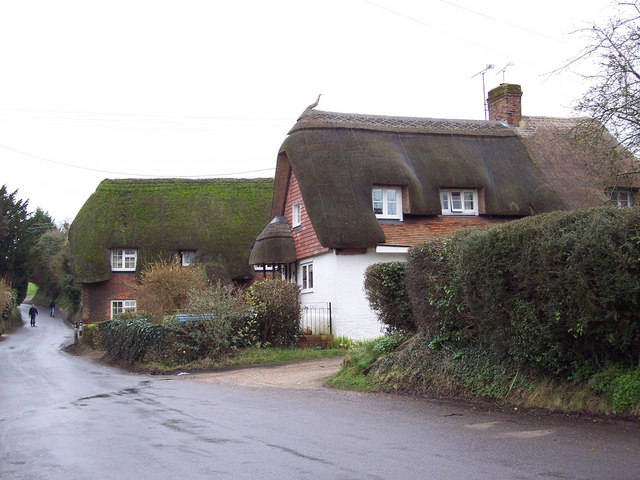 Thatched cottages in West Dean