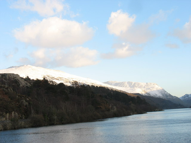 Coed y Clegyr from Pen Llyn with the snow-covered Glyderau forming the background
