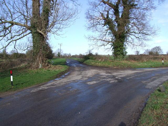 Farm Lane Junction on Bend, Wreningham