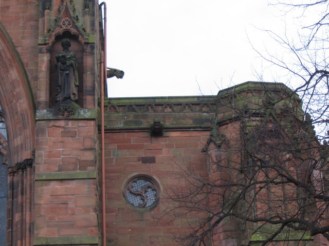 Gargoyles and statue on Carlisle Cathedral