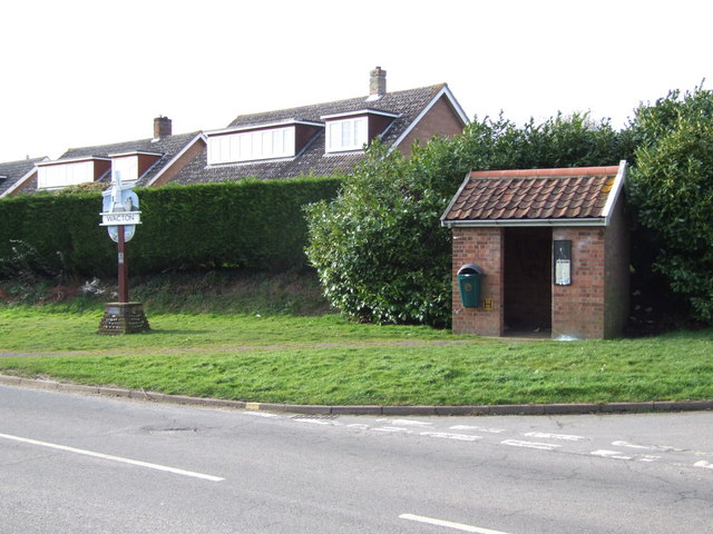 Village Sign and Bus Shelter at Road Junction, Wacton