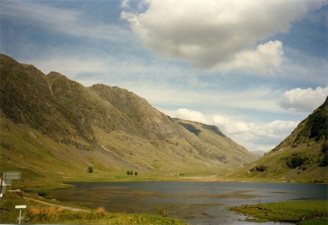 Loch Achtriochtan and outflow of River Coe, Glen Coe