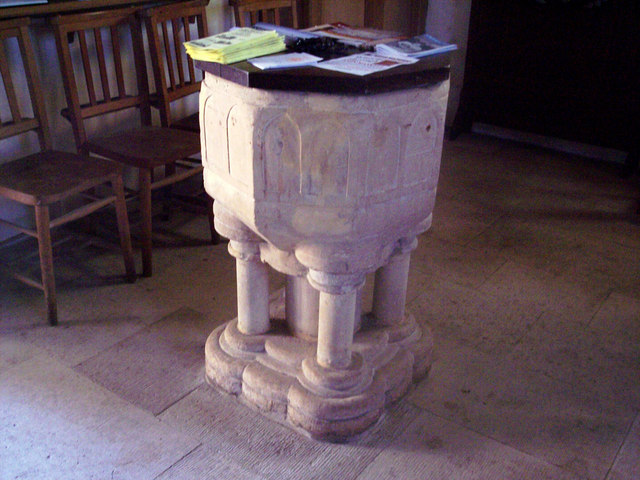 The 13th century font at St Nicholas Church