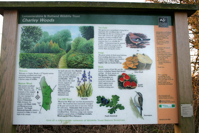 Information board at the entrance to Charley Woods