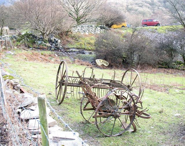 Classic farm machinery on the Chwarel y Faenol site