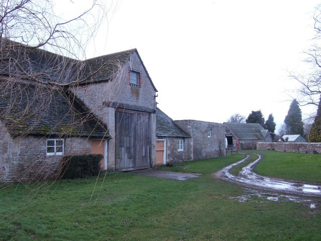 Stone farm buildings at Whelford