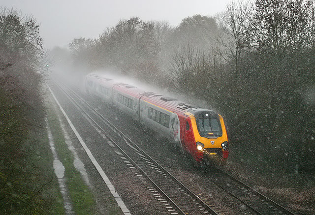 Train in the rain