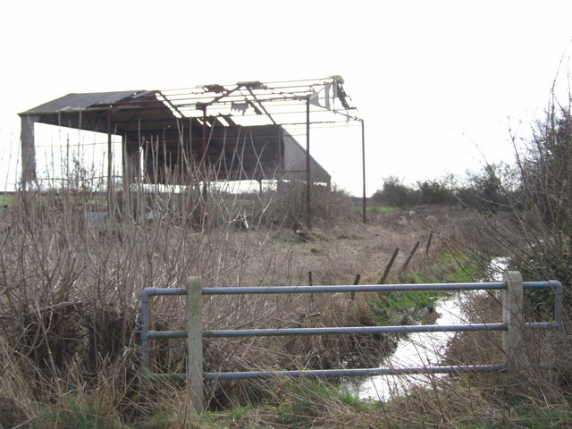 Stream and Derelict Barn, Cargate Common