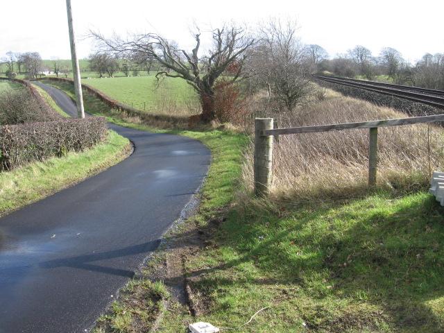 Road and railway near Catrine