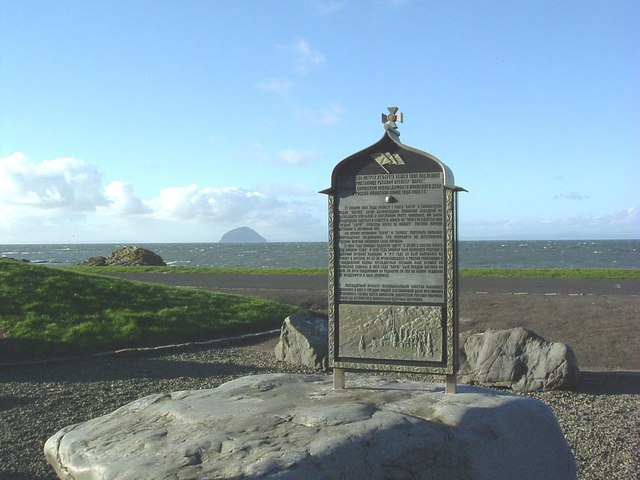 Varyag Memorial with Ailsa Craig in background