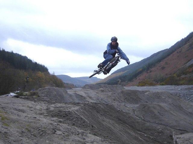Biker near River Ystwyth