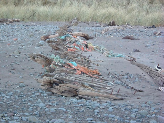 Net covered remains of Sailing Ship Richard III