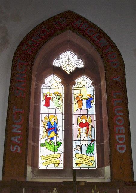 Stained glass window, Efenechtyd Church