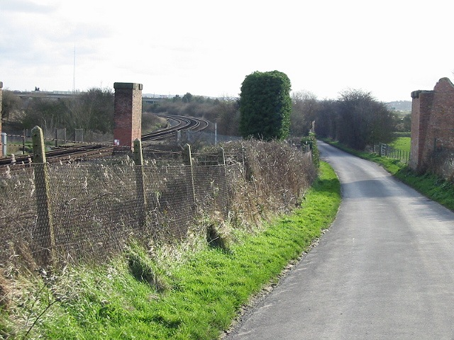 The road, railway and remains of old viaduct