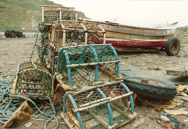 Lobster Pots and Fishing Boat Skinningrove