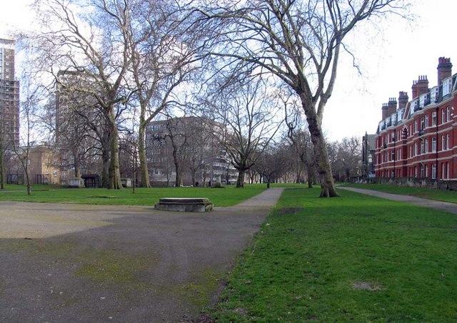 St Mary's Churchyard, W2 toward Church