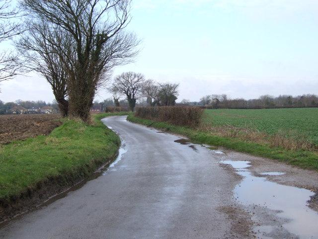 Winding Road between Wattlefield and Spooner Row