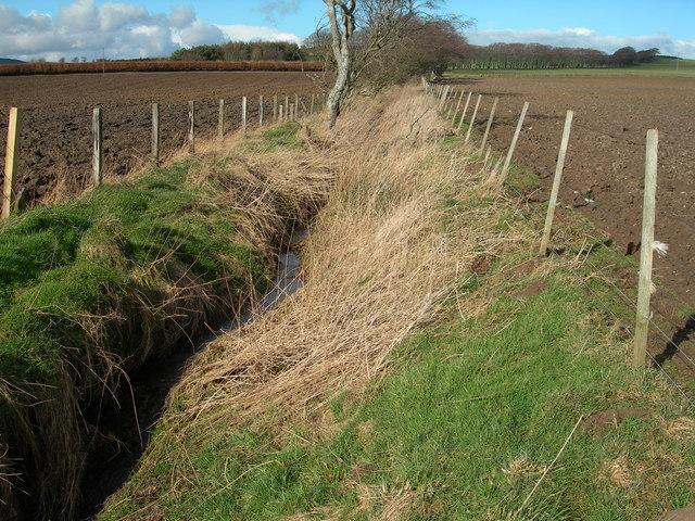 Burn & ploughed fields near Blackburn Mill