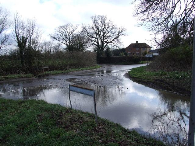 Flood at Crossroads, Church Road, Aslacton