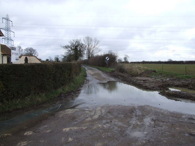 Flooded Track to Wacton Hall by Gore Lane Farm, Great Moulton