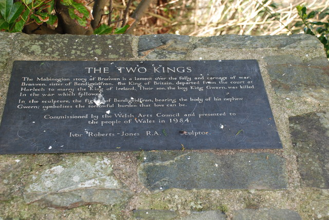 Plaque explaining Y ddau frenin-The two kings