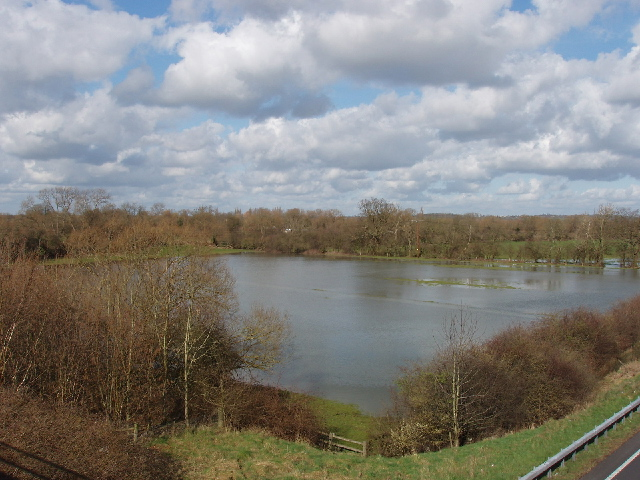 Flooded field, view from bridge over A34