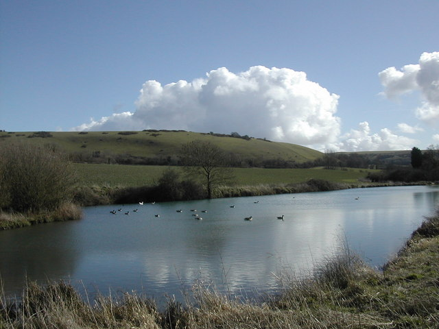 Lake at Up Cerne looking towards Giant Hill, Cerne Abbas